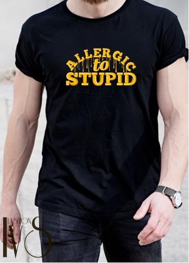 Мъжка тениска черна - ALLERGIC TO STUPID