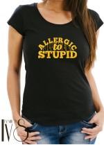 Дамска тениска черна - ALLERGIC TO STUPID