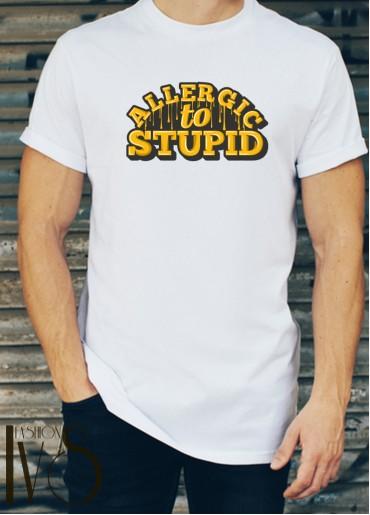 Мъжка тениска бяла - ALLERGIC TO STUPID